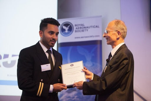 "Bartolini Air Cadet Karan Dhak from Italy has won the Royal Aeronautical Society ""Most Inspirational Cadet Pilot Award 2019"""